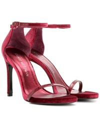 Stuart Weitzman Exclusive To Mytheresa.Com Nudistsong Velvet Sandals Red