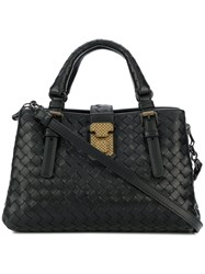 Bottega Veneta Roma Mini Double Handle Bag Black