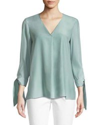 Lafayette 148 New York Blair Matte Silk Blouse Herbal Mist