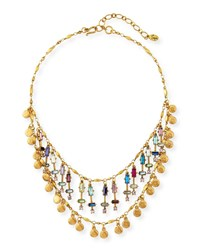 Sequin Beaded Two Layer Rainbow Necklace Multi