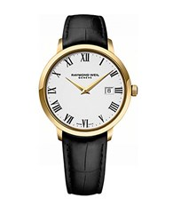 Raymond Weil Mens Toccata Goldtone And Leather Watch Black
