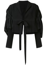 By. Bonnie Young Cropped Tuxedo Jacket Black