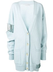Christopher Kane Crystal Cupchain Cardigan Blue