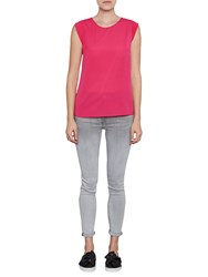 French Connection Classic Crepe Capped Sleeve T Shirt Fuschia