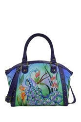 Anna By Anuschka Hand Painted Leather Large Studded Satchel Multi
