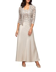 Alex Evenings Petite Sequined Jacket And Gown Champagne