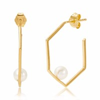Neola Minerva Gold Earrings With White Pearl