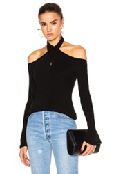 Rosetta Getty Wrap Neck Off Shoulder Tee In Black
