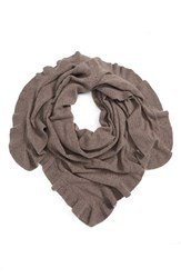 Nordstrom Women's Cashmere Ruffle Triangle Wrap Heather Taupe