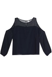 Charli Organza Paneled Crepe Top Navy