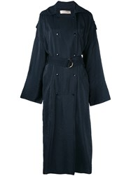 Nina Ricci Double Breasted Long Coat Women Viscose 36 Blue