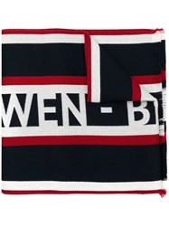 Kent And Curwen Logo Sport Scarf Blue