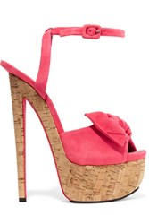 Giuseppe Zanotti Bow Embellished Suede Sandals Bright Pink