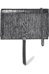 Saint Laurent Monogramme Kate Small Metallic Suede Shoulder Bag Silver