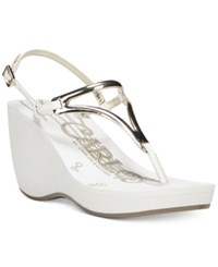 Carlos By Carlos Santana Tanita Thong Wedge Sandals Women's Shoes White