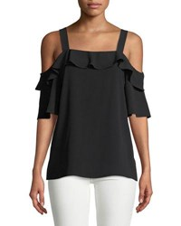 Cynthia Steffe Cold Shoulder Crepe Ruffle Dblouse Black