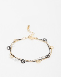 Warehouse Circle And Chain Multirow Bracelet Gold