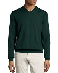 Neiman Marcus Wool V Neck Sweater Green Lake