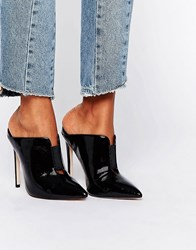 Asos Poison Pointed Mules Black Patent