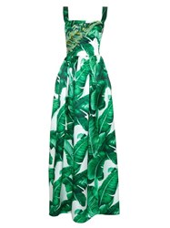 Dolce And Gabbana Banana Leaf Print Embellished Gown Green Multi