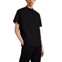 Song For The Mute Cotton Oversized Mock Turtleneck T Shirt Black