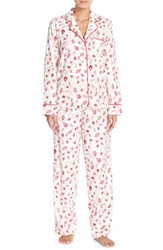 Women's Carole Hochman Designs Print Flannel Pajamas Holiday Pearls Ivory