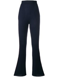 Nude Rib Knit Flared Trousers Blue