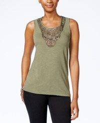 Jm Collection Petite Embellished Tank Top Only At Macy's Olive Sprig