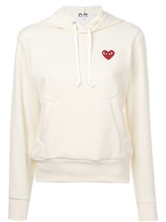 Comme Des Garcons Play Embroidered Heart Hoodie Polyester L Yellow Orange