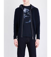 Armani Jeans Contrast Panel Cotton Hoody Navy
