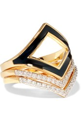 Noir Jewelry Set Of Three Gold Tone Enamel And Crystal Rings