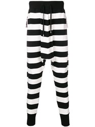 Unconditional Striped Drop Crotch Trousers Black