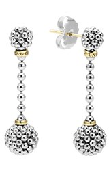 Lagos Women's Caviar Lattice Ball Drop Earrings Silver Gold