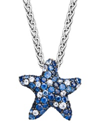Effy Collection Sapphire Splash By Effy Multicolor Sapphire Pave Starfish Pendant Necklace In Sterling Silver 2 3 4 Ct. T.W. Blue