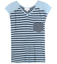 Velvet Beaumont Striped Linen Blend T Shirt Blue