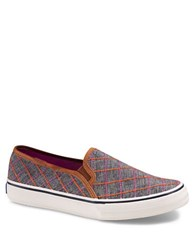 Keds Double Decker Windowpane Checked Canvas Sneakers Blue