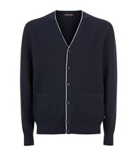 Michael Kors Weave Stitch Contrast Trim Cardigan Male Navy