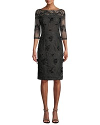 David Meister Illusion Cocktail Dress W 3D Embroidery Black