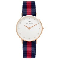 Daniel Wellington Women's Classy Rose Gold Plated Nato Fabric Strap Watch Navy Red