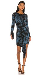 Young Fabulous And Broke Maisie Dress In Black Blue. Electric Blue Burst Wash