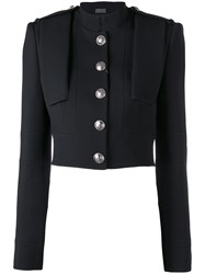Alexander Mcqueen Cropped Military Jacket Women Silk Cupro Wool 42 Black