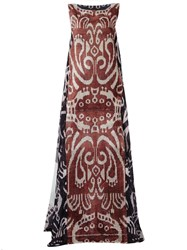 Afroditi Hera Printed Sleeveless Gown Brown