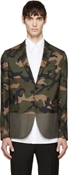 Valentino Green And Grey Silk Camo Blazer