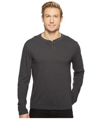 Agave Cliff Long Sleeve Henley Slub Stripe Stretch Limo Men's Long Sleeve Pullover Black