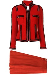 Chanel Vintage Two Piece Skirt Suit Red