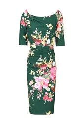 Jolie Moi Retro Floral Half Sleeve Ruched Dress Dark Green