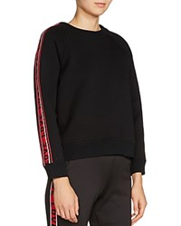Maje Toska Love Striped Sleeve Sweatshirt Black
