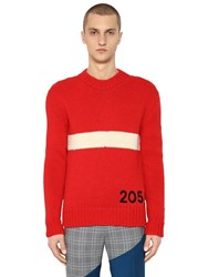 Calvin Klein 205W39nyc Logo And Stripe Wool Knit Sweater Red