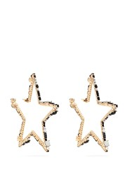 Valentino Star Shaped Crystal Hoop Earrings Silver