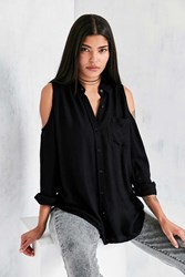 Silence And Noise Cold Shoulder Button Down Shirt Black